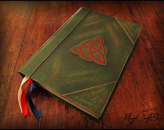 Pocket Charmed Book of Shadows with ORIGINAL parchment pages - SMALL size 6,3x4,7 inch - wicca magic ritual spells