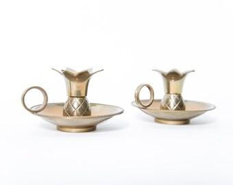 Brass Pineapple Candle Holder Set of 2 Archana Handicrafts India Handmade 1970s