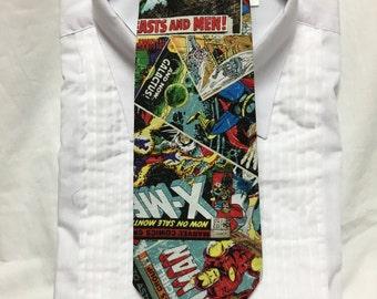 Super Hero Comic Book Cover print Tie-able Neck Tie