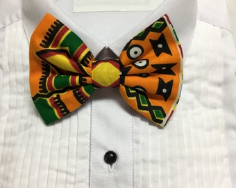 African Kente Geometric Black, Maroon and Orange Print Bowtie / Bow Tie