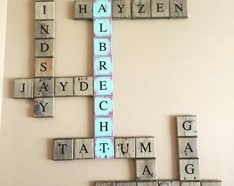 Scrabble Name Blocks, Scrabble Blocks, Name Blocks, Scrabble, Wood Blocks, Name Block, Last Name Sign, Last Name Signs, Name Sign