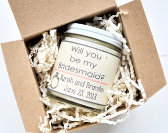 Will you be my Bridesmaid Candle | Maid of Honor Gift | Wedding Gift| Personalized Gift| Eco Friendly Packaging