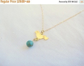 CHRISTMAS SALE - Bird necklace - Turquoise necklace - Gold bird necklace - Sparrow necklace - Gold necklace - Dainty sparrow necklace