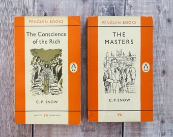 Set of Two C.P Snow Penguin Classic Book - Penguin Books - Literature Gift for Book Lover