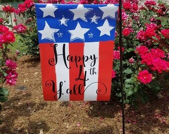 Happy 4th Yall Fourth of July Garden Flag Red White and Blue Patriotic Summer fun Stars and Stripes Happy 4th of July