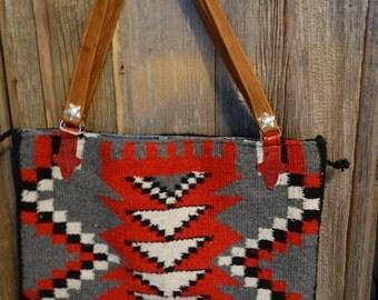 Red and Black navajo blanket tote bag lined with blue jeans