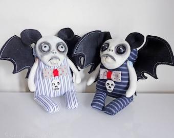 OOAK-Art doll-Gothic-Collectable-Duo-Weird-Bat-Softie- Halloween - By Doll Artist Cheryl Austin