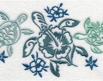 Turtle Trio Embroidered Towel | Flour Sack Towel | Linen Towel | Dish Towel | Kitchen Towel | Hand Towel | Embroidery