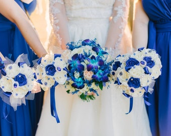 Bridesmaid bouquet, brooch bouquet, bridal bouquet, Ivory and royal blue brooch bouquet, wedding brooch bouquet.
