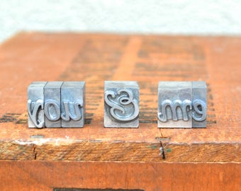 Ships Free - You & Me - Vintage letterpress metal type collection - wedding, anniversary, love, girlfriend, boyfriend, industrial TS1012