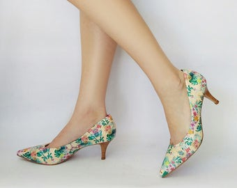 Floral heels, Unique heels, Women shoes, Party heels, Leather pumps, Pumps shoes, Nude heel shoes, Heels pointy shoes, Womens pumps