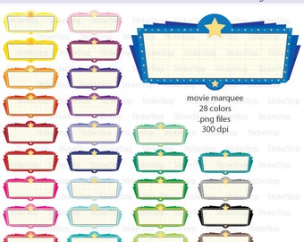 Movie Marquee Icon Digital Clipart in Rainbow Colors - Instant download PNG files