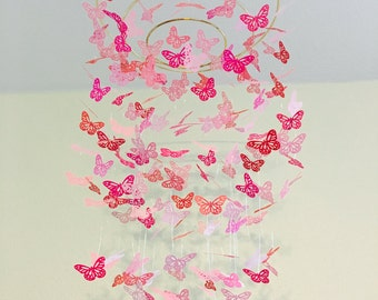 pink butterfly mobile, baby girl mobile, baby boy mobile, crib mobile, nursery decor, dorm room, teen room decor, birthday present, gift