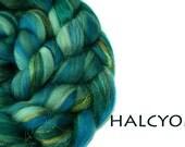 HALCYON - blended roving - Merino - Mulberry silk - Firestar - 100g/3.5oz - teals