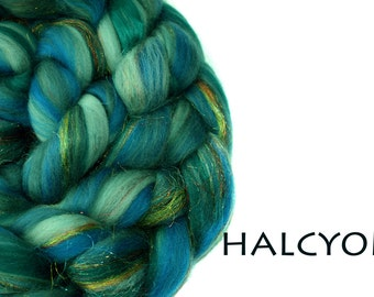 HALCYON - blended top-Merino-Mulberry silk-Firestar-100g/3.5oz-teals