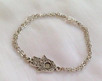 Antique Silver Hamsa Hand Bracelet, Silver Bracelet, Protection Pendant, Dainty Gift for Her, Fashion Jewelry, Silver Khamsa Charm, Best