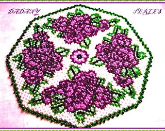 pattern bead weaving doily bouquet de mauve