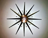 Dramatic STARBURST Clock by SETH THOMAS original battery movement works well c1960s