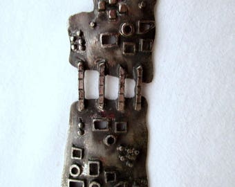 Brutalist Modernist Modern Silvertone Pendant Necklace Unsigned Guy Vidal Like