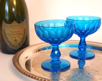 Blue Champagne Coupe Glasses | Champagne Saucers | Cocktail  Glasses | Vintage Blue Glass | Toasting Glasses | Set of 2 | Vintage Glassware