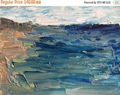 ON SALE Art and Collectibles, seascape, oil painting, original art, oil on 5x7 inch gessobord, impressionist seascape, modern impressionist