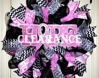 Breast Cancer Awareness wreath, Hope wreath, victory celebration wreath, breast cancer support wreath