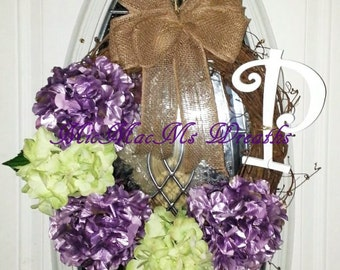 Monogram wreath, hydrangea wreath with initial, grapevine monogram wreath, grapevine hydrangea wreath, burlap bow wreath, initial wreath