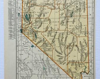 1940s Original Vintage Map Nevada Nebraska 14x11 Rand McNally Americana Wall Decor Art Craft Supplies