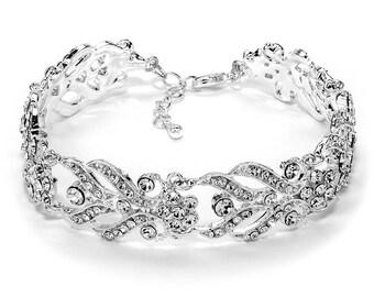 Silver Wedding Bracelet, Rhinestone Bridal Bracelet, Wedding Jewelry, Floral Rhinestone Bracelet, Bridal Accessory, Floral Wedding ~JB-4808