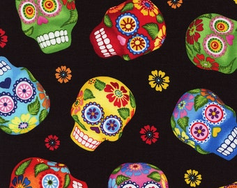 Sugar Skulls Fabric/Day of the Dead/Timeless Treasures/Cotton Material/Quilting, Clothing, Craft/Fat Quarter, Half, or By the Yard, Yardage