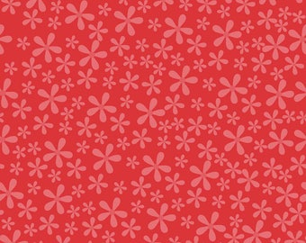 Riley Blake Fabric, Twice as Nice/Pink Flowers on Red/Cotton Sewing Material/Quilting, Clothing and Craft/Fat Quarter, By The Yard