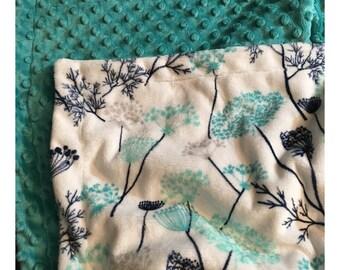 Floral Baby Blanket, Minky Baby Blanket, Personalized Blanket,Toddler Blanket, Crib Blanket, Baby Boy Blanket, Baby Girl Blanket