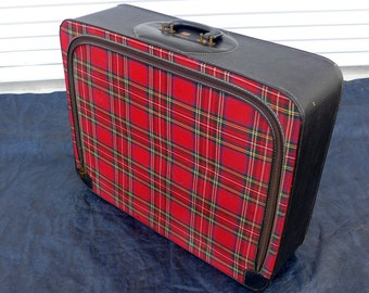 Red Tartan Plaid Suitcase Soft Side Travel Case by Leed's Travelwear Vintage Vinyl and Fabric Luggage Retro British