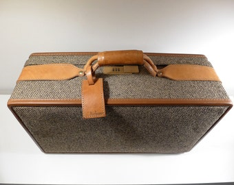"""Vintage Hartmann 21"""" Tweed and Tan Leather Suitcase Carry On Travel Leather Strap Brass Hardware Locking Combination Luggage Toile Fabric"""