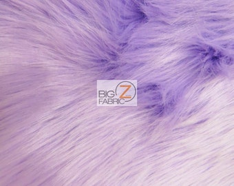 """Solid Shaggy Faux Fur Fabric - LAVENDER - Sold By The Yard 60"""" Width Costumes Accessories Clothing"""