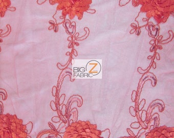 Cherry Blossom 3D Dress Lace Fabric - RED - Sold By The Yard Prom Evening Dress Lace Decor Accessories Flowers