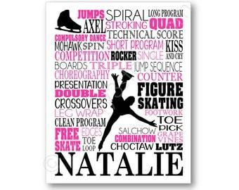 Figure Skating Typography Poster Print, Figure Skater Art, Gift for Ice Skater, Figure Skating Coach Gift, Ice Skate Gift, Ice Skater Canvas