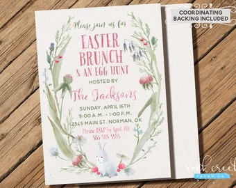 Easter Brunch Invitation, Easter Egg Hunt Invitation, Watercolor Easter Invitation, Easter Brunch Party, Printable Party Invitation