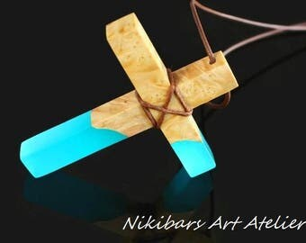 Glow In Dark Cross Necklace, UV Glow Cross, Wood Resin Cross Necklace,Abstract Cross Pendant Necklace, Art Necklace, Modernist Necklace,