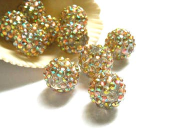 5 Clear Disco Ball Beads With AB Crystals - 24-25
