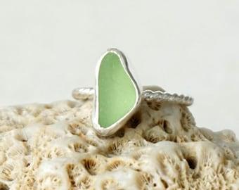 Mint Seafoam Green Sea Glass Stacking Ring, Size 8 - Genuine Sea Glass, Natural Sea Glass - Stacking Jewelry, Stacker Ring