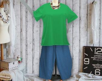 Plus sizes - US 18 - 34, UK 20 - 36, basic shirt, jersey/cotton,green