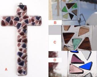 Fused Glass Cross - Cross Sun Catcher - Mosaic Suncatcher - Colorful Wall Cross