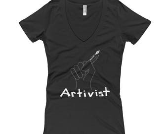 ARTIVIST Woman Deep V-Cut Tee in Black