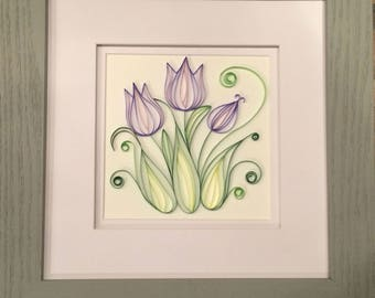 Quilled Purple Tulips