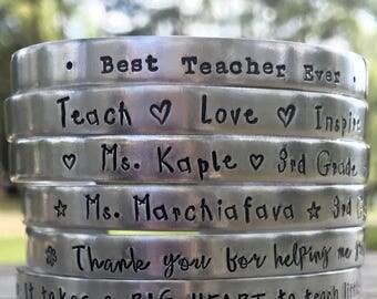 SALE, Teacher Bracelets, Hand Stamped Bracelet, Mantra Bracelet, Personalized Teacher Gift, Best Teacher Ever