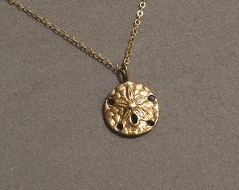 Gold Sand Dollar Necklace Pendant 14K Gold Filled Chain Dainty Delicate Beach Resort Nautical Ocean Jewelry