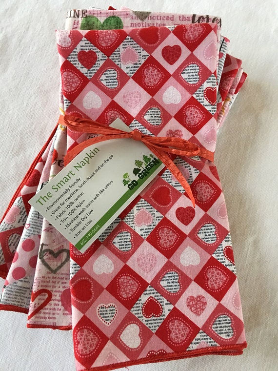 Red Hearts Valentine's Day All Cotton Dinner Napkins Set of 6 by Smartkin