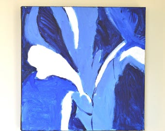 """Iris flower painting on canvas, Indigo Blue decor, Blue flower,  Square,  modern decor, Abstract floral painting, 12"""" X 12"""""""