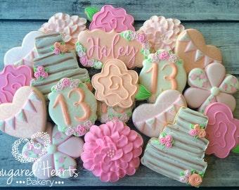 Shabby Chic Floral Birthday Flower Cookies - 1 Dozen